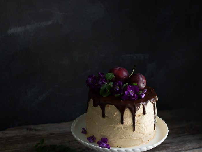 Vanilla Cake With Homemade Rhubarb And Plum Jam + Cream Cheese And Dulce De Leche Frosting