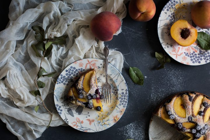 Summer Blueberry and Peach Yogurt Cake